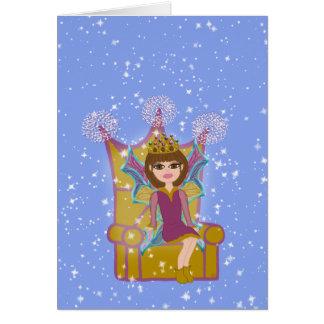 Queen Fairy Brunette Sitting on Throne Cartoon Art Greeting Card