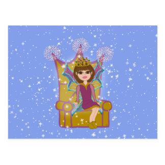 Queen Fairy Brunette Sitting on Throne Cartoon Art Postcard
