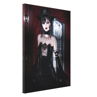 Queen for Eternity Vampire Gothic Girls Art Stretched Canvas Print