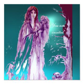 QUEEN GUINEVERE Aqua Blue,Teal 13 Cm X 13 Cm Square Invitation Card