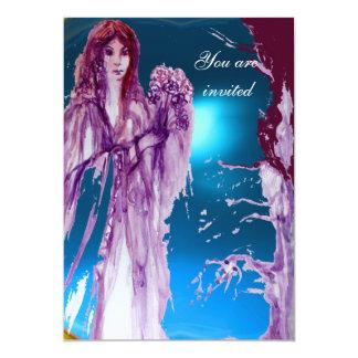 QUEEN GUINEVERE Aqua Blue,Teal 13 Cm X 18 Cm Invitation Card