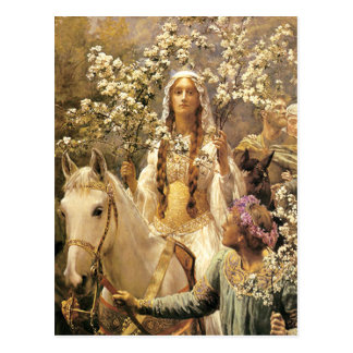 Queen Guinevere Maying Postcard