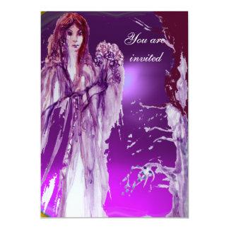 QUEEN GUINEVERE purple fuchsia red white 13 Cm X 18 Cm Invitation Card