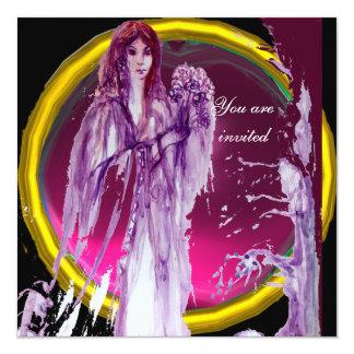 QUEEN GUINEVERE purple white yellow black 13 Cm X 13 Cm Square Invitation Card