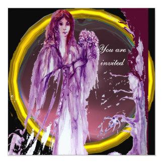 QUEEN GUINEVERE purple yellow white 13 Cm X 13 Cm Square Invitation Card