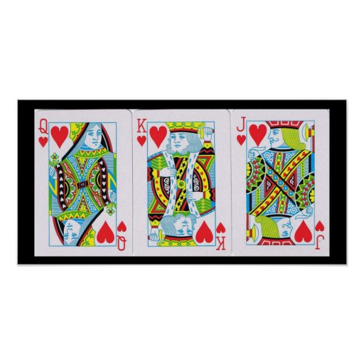Queen,King,Jack of Hearts Poster
