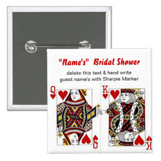 Queen King of Hearts Bridal Shower Name Pins