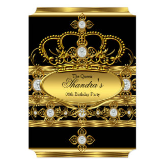 "Queen King Prince Royal Gold Diamond Crown Party 5"" X 7"" Invitation Card"