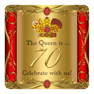 Queen King Regal Red Gold 70th Birthday Party 13 Cm X 13 Cm Square Invitation Card