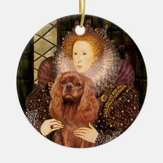 Queen Liz I - Ruby Cavalier Round Ceramic Decoration
