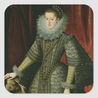 Queen Margarita of Austria, 1609 (oil on canvas) Square Sticker