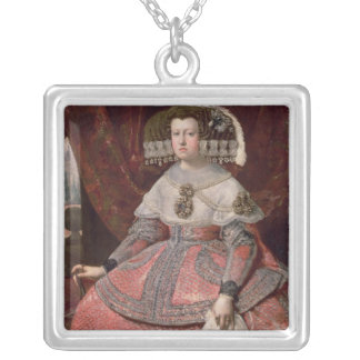 Queen Maria Anna of Spain in a red dress Silver Plated Necklace
