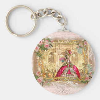 Queen Marie Antoinette at Versailles Party in Pink Basic Round Button Key Ring