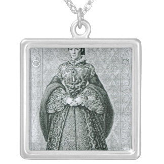 Queen Mary I engraved by T.Brown Silver Plated Necklace