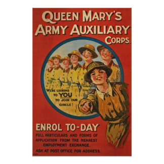 Queen Mary's Army Auxiliary United Kingdom WWI Poster