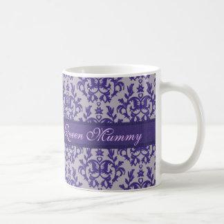 Queen Mummy damask purple grey mug
