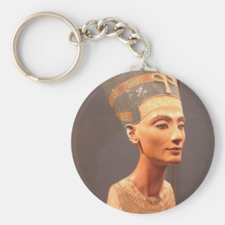 Queen Nefertiti Basic Round Button Key Ring