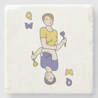 Queen of Butterflies Card Girl Stone Beverage Coaster