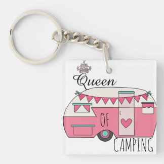 Queen of Camping Double-Sided Square Acrylic Key Ring
