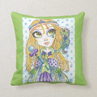 Queen of Clubs Fantasy Art Pillow