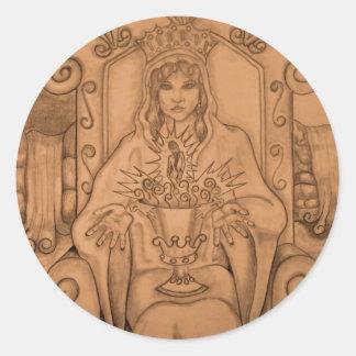 Queen Of Cups - Tarot Card Round Sticker