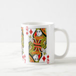 Queen Of Diamonds Playing Card Coffee Mugs