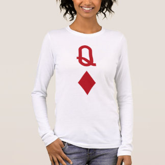 Queen of Diamonds Red Playing Card Long Sleeve T-Shirt