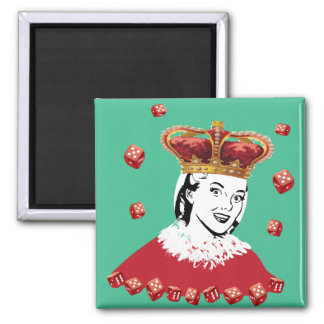 Queen of Dice - Add your own photo Square Magnet