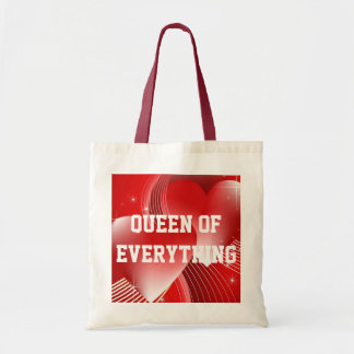 Queen Of Everything Hearts Budget Tote Canvas Bag