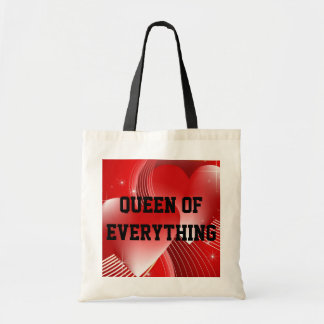 Queen Of Everything Hearts Budget Tote Bags