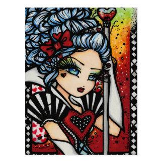 Queen of Hearts Alice Fairy Fantasy Art Girl Postcard