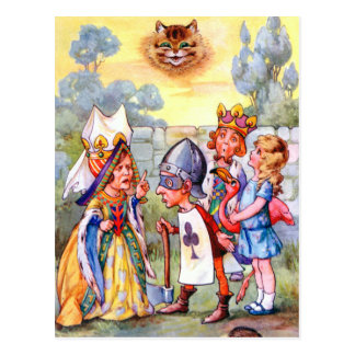Queen of Hearts and Alice In Wonderland Postcard