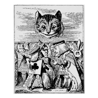 Queen of Hearts and Cheshire cat Poster