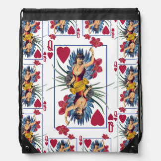 Queen of Hearts and Flowers Drawstring Bag