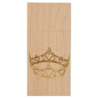 Queen of Hearts crown tiara flash drive Wood USB 2.0 Flash Drive
