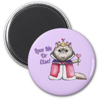 Queen of Hearts Persian Cat Illustration 6 Cm Round Magnet