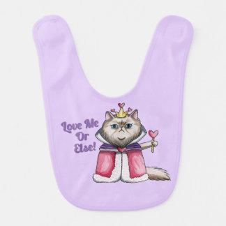 Queen of Hearts Persian Cat Illustration Baby Bibs