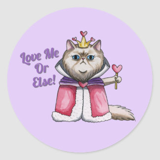 Queen of Hearts Persian Cat Illustration Round Sticker
