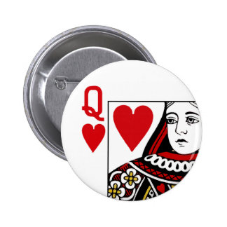 Queen Of Hearts Playing Card 6 Cm Round Badge