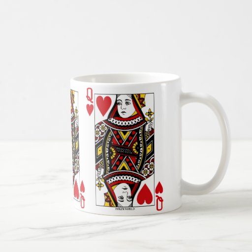 Queen Of Hearts Playing Card Coffee Mugs