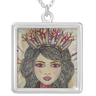 Queen of Hearts Square Pendant Necklace
