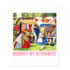 """QUEEN OF HEARTS TELLS ALICE """"RESPECT MY AUTHORITY"""" POSTCARD"""