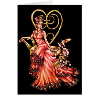 Queen of Hearts with White Rabbit Drawing Greeting Card