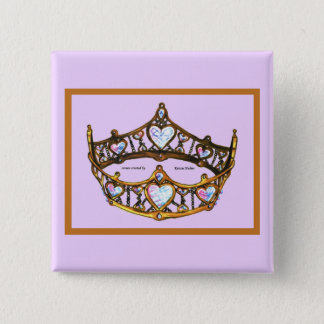 Queen of Hearts Yellow Gold Crown Tiara pink lilac 15 Cm Square Badge