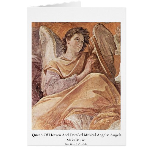 Queen Of Heaven And Detailed Musical Angels Greeting Card