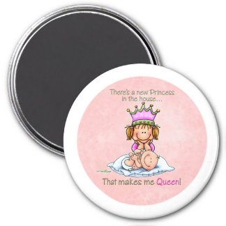 Queen of Princess - Big Sister button Magnet