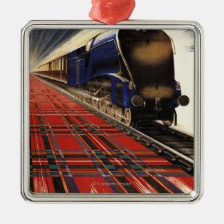 Queen of Scots Pullman Train Silver-Colored Square Decoration