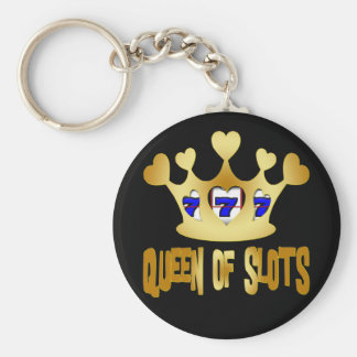 QUEEN OF SLOTS BASIC ROUND BUTTON KEY RING
