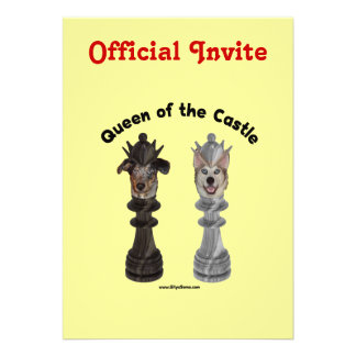 Queen of the Castle Chess Dogs Invitation