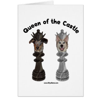 Queen of the Castle Chess Dogs Note Card